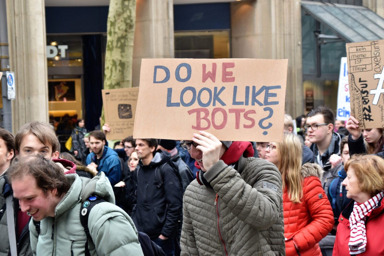 Bots sign at Protest