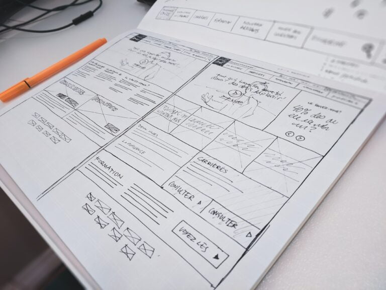 Wireframes Webdesign handgeschriebener Entwurf